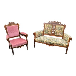 Antique Eastlake Settee & Gentleman's Chair For Sale