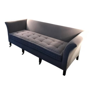 Grey Mohair and Grey Cotton Back Upholstered Sofa For Sale