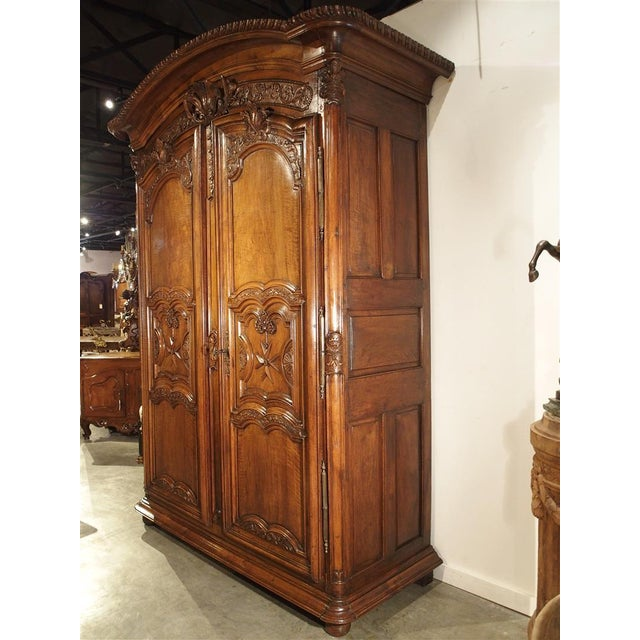 """Early 1700's French Walnut Wood Chateau Armoire, """"The Order of Saint Louis"""" For Sale - Image 10 of 11"""