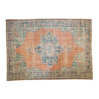 "Vintage Distressed Oushak Carpet - 6'4"" X 8'9"" For Sale"