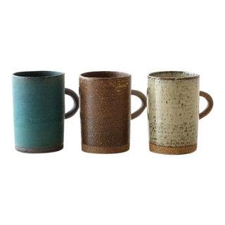 Studio Pottery Organic Modern Earth Tone Japanese Mugs - Set of 3