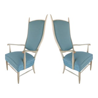 Mid-Century Modern Curved Tallback Armchairs by Edward Wormley for Dunbar