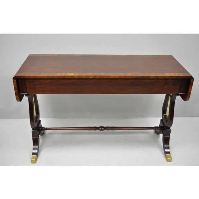 Baker Banded Mahogany Dropleaf Hall or Sofa Table For Sale - Image 9 of 13