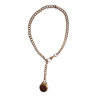 1920's Art Deco Goldstone and Moonstone Gold-Filled Watch Fob and Chain