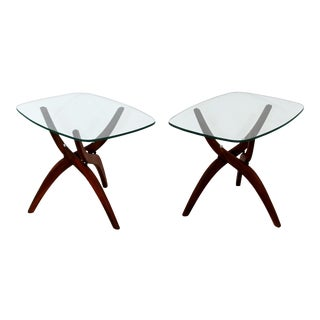 1960s Mid Century Modern Forest Wilson Walnut Glass Sculptural Side Tables - a Pair For Sale