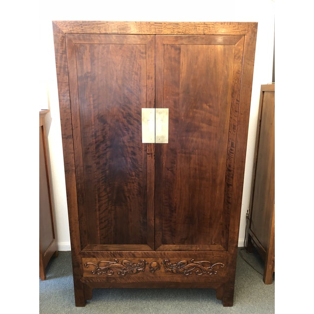 Asian Style Walnut Bar or Media Armoire For Sale - Image 13 of 13