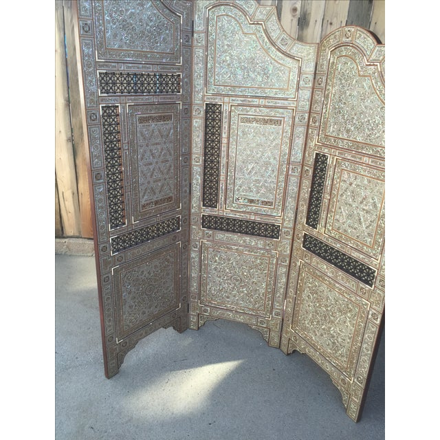 Egyptian Inlaid Mother of Pearl Trifold Screen - Image 5 of 6
