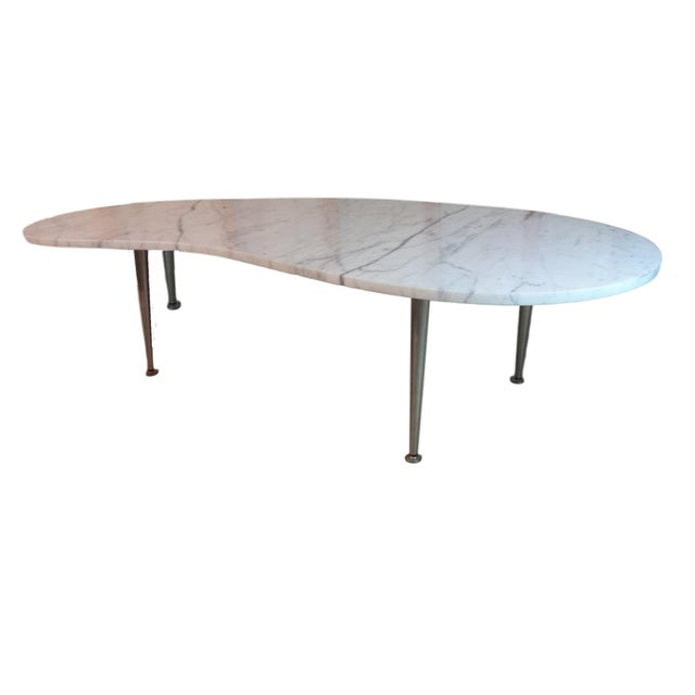 Mid-Century Marble Kidney Coffee Table For Sale