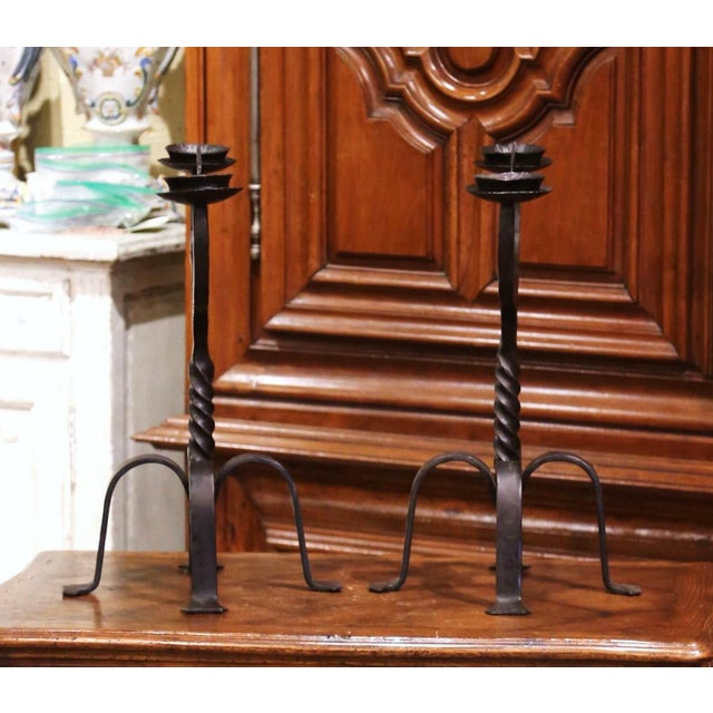 Gothic 19th Century French Gothic Revival Wrought Iron Two-Arm Candelabras - a Pair For Sale - Image 3 of 11