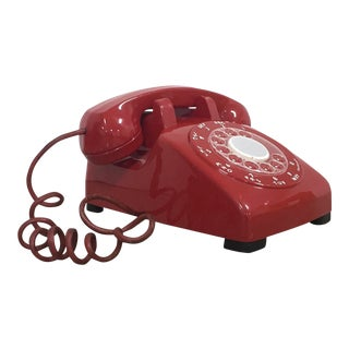 Vintage Giant-Sized Candy Red Plastic Western Electric Telephone With Light-Up Rotary Dial For Sale