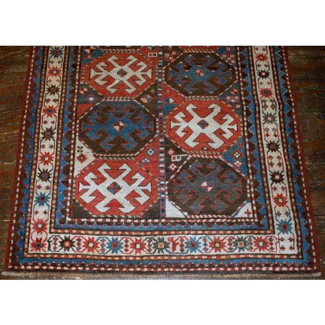 "Handmade Antique Caucasian Kazak Mohan Rug - 3'8"" X 8'2"" For Sale In New York - Image 6 of 7"