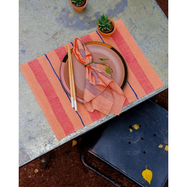 Indu Handwoven & Block-Printed Terracotta Table Napkins - Set of 4 For Sale In New York - Image 6 of 7