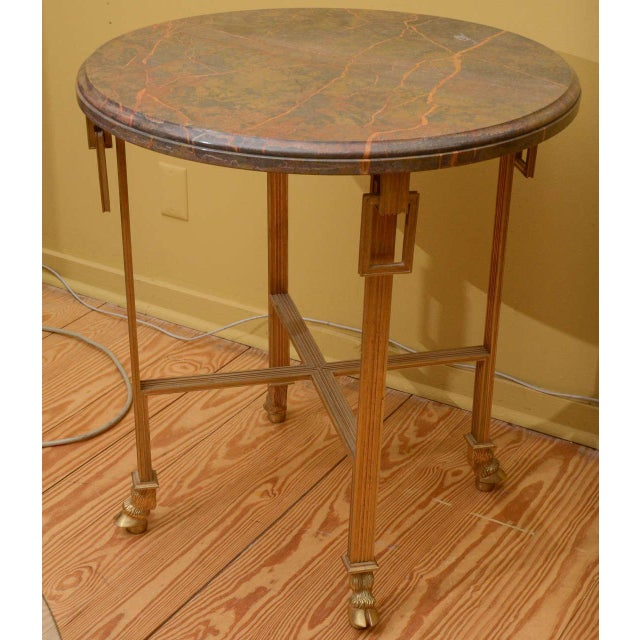 French Marble Top Side Table with Bronze Base - Image 2 of 3