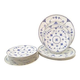 "1980's English Ironstone ""Denmark Blue"" Dinnerware - Set of 14"