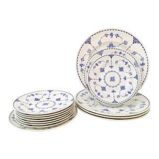 "1980's English Ironstone ""Denmark Blue"" Dinnerware - Set of 14 For Sale"