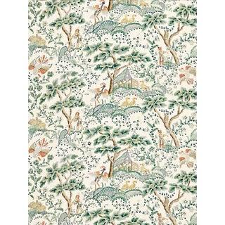 Sample, Scalamandre Kelmescott Hand Block Print Fabric, Leaf on Ivory For Sale