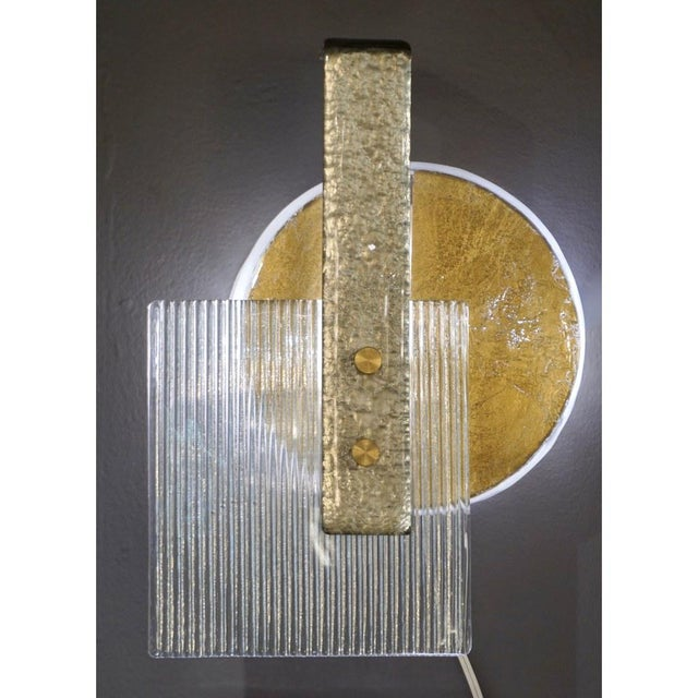Abstract Italian Abstract Modern Gold Silver and Crystal Murano Glass Sconces - a Pair For Sale - Image 3 of 8