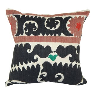 """Embroidered Geometrical Suzani Pillow 16""""x16"""" For Sale"""