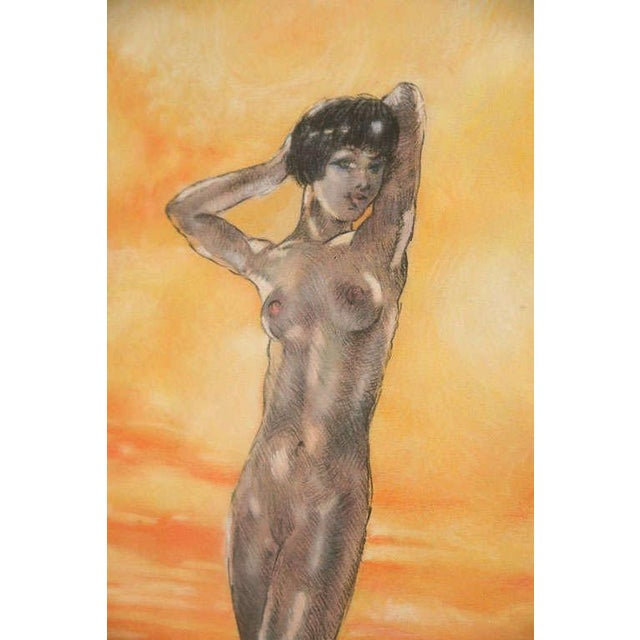 Paint One of a Kind Art Deco Watercolor by Eduard Chimot Custom Framed For Sale - Image 7 of 11