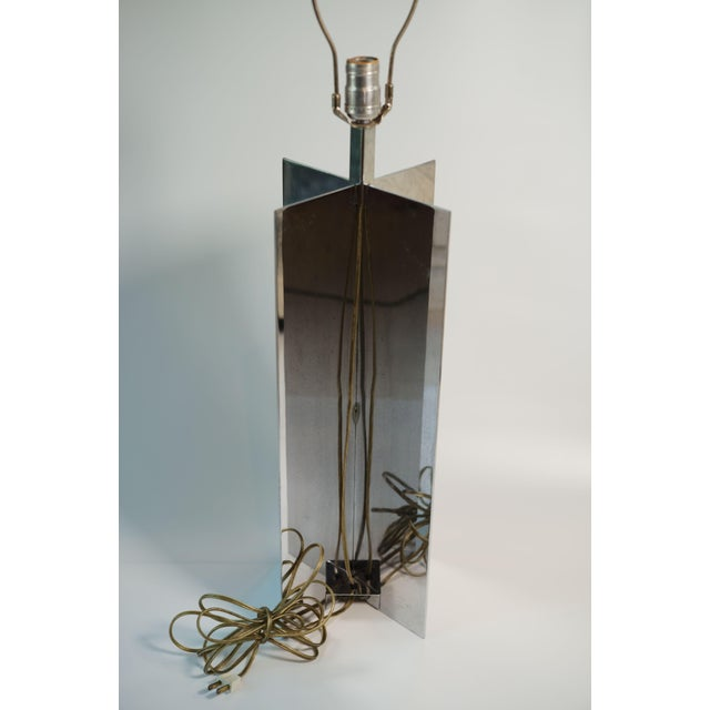 Mid-Century Modern Vintage Jean Michael Frank Croisillon Style Chrome Table Lamp For Sale - Image 3 of 4