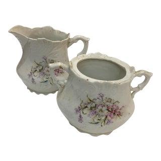 Vintage Floral Porcelain Creamer & Sugar Bowl - a Pair For Sale