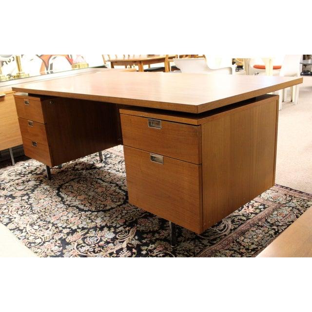 Herman Miller 1950s Mid Century Modern George Nelson Herman Miller Walnut Desk & Credenza - 2 Pieces For Sale - Image 4 of 13