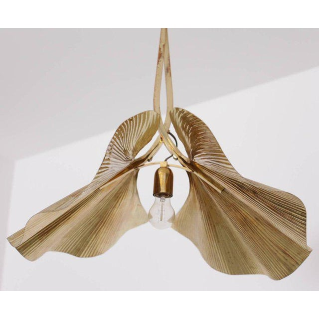 Tommaso Barbi Rare Huge Ginkgo Leaf Brass Chandelier by Tommaso Barbi For Sale - Image 4 of 8