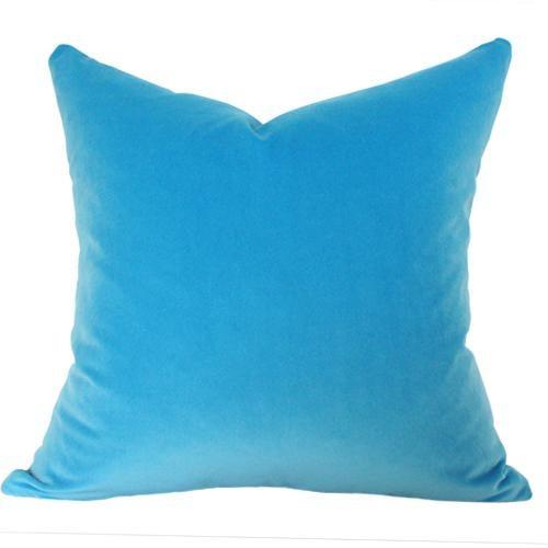 "Contemporary Capri Blue Velvet Pillow Cover 20"" Sq For Sale - Image 3 of 3"