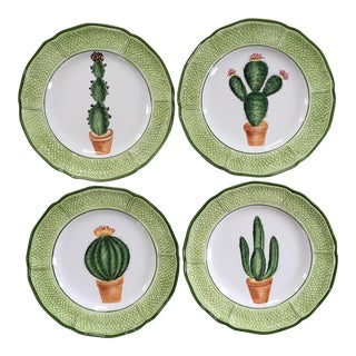 Italian Hand Painted Porcelain Cactus Plates - Set of 4 For Sale