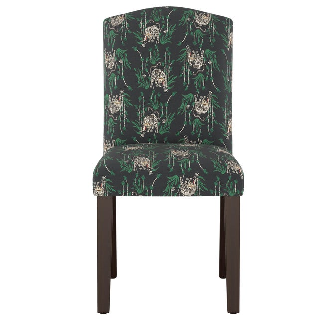 Camel Back Dining Chair in Tiger Bamboo Ink Oga For Sale
