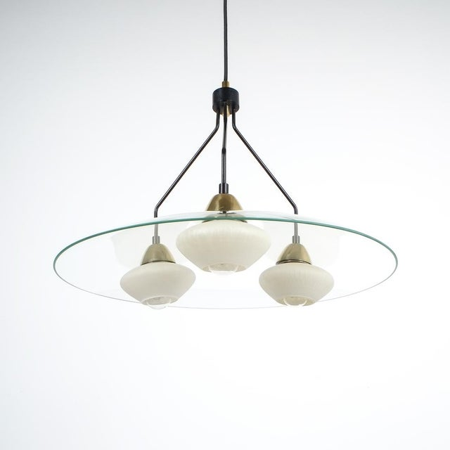 Angelo Lelii Angelo Lelii Style Ufo Chandelier Clear Glass Brass, Italy Circa 1955 For Sale - Image 4 of 13