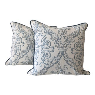 """Traditional Fortuny """"Spagnolo"""" Blue and White Pillows - a Pair For Sale"""