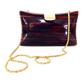 1980's Vintage Jordan Marsh Italian Lucite Faux Tortoise & Gilt Gold Handbag For Sale