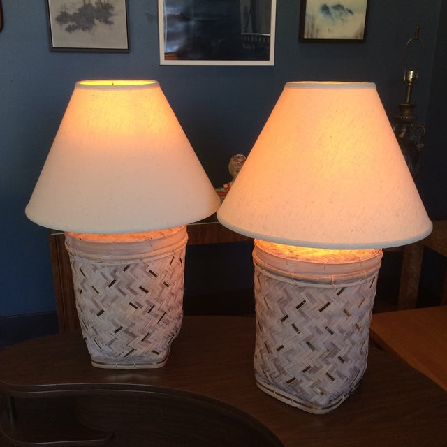 Rattan Basket Lamps With Brass Accents - a Pair - Image 3 of 7