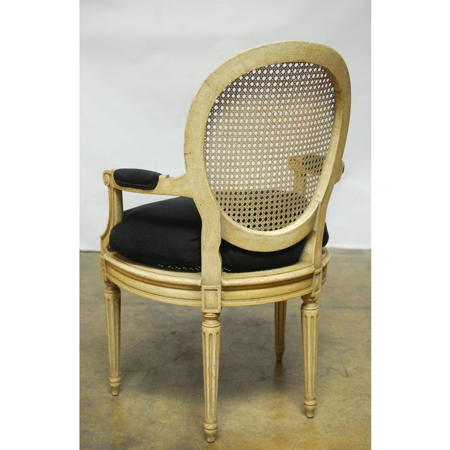 Louis XVI Style Cane Fauteuil Armchairs - Set of 5 For Sale - Image 9 of 10