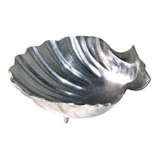 Vintage Coastal Polished Aluminum Decorative Clamshell Bowl Catchall For Sale