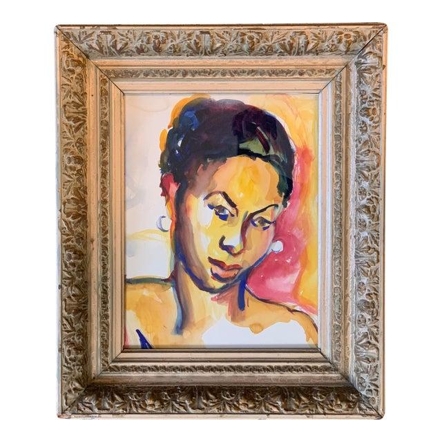 Original 1970's Vintage Watercolor Ethnic Female Figure Painting For Sale