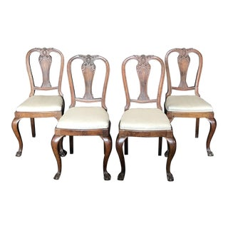 Carved Walnut English Side Dining Chairs -Set of 4 For Sale