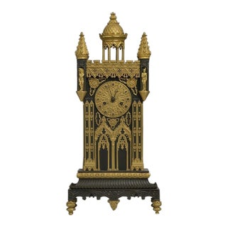 French 19th Century Bronze and Ormolu Gothic Cathedral Clock For Sale