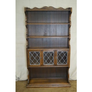 Ethan Allen Royal Charter Oak Leaded Glass Door Tall Open Bookcases - a Pair Preview