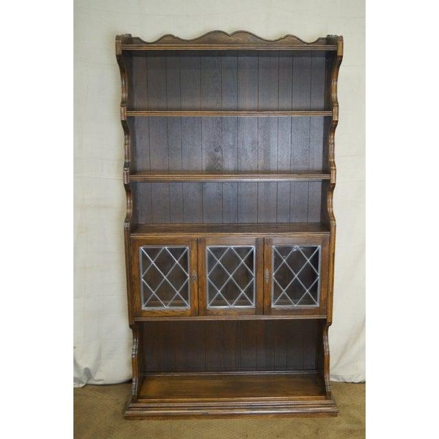 Ethan Allen Royal Charter Oak Leaded Glass Door Tall Open Bookcases
