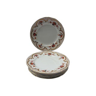 Vintage Mason's Gilded Floral Plates - S/7 For Sale