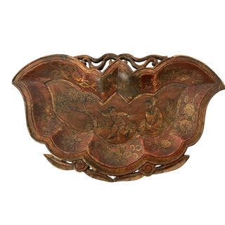 Antique Chinese Wooden Moth Tray Chinoiserie Scene Artist Signed For Sale