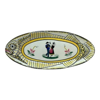 1940s French Faience Fish Platter Henriot Quimper For Sale