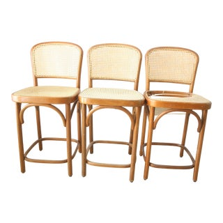 Mid-Century Modern Cane Bent Wood Bar Stools - Set of 3 For Sale
