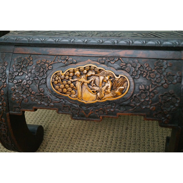 Antique Carved Chinese Low Opium Tables - Pair For Sale In Philadelphia - Image 6 of 10