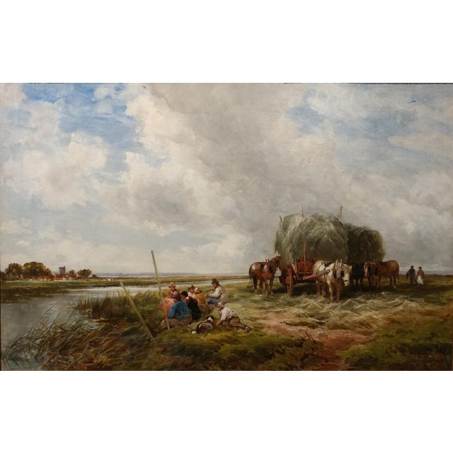 Traditional 19th Century Edmund Morison Wimperis Harvesters Resting Oil Painting For Sale - Image 3 of 10
