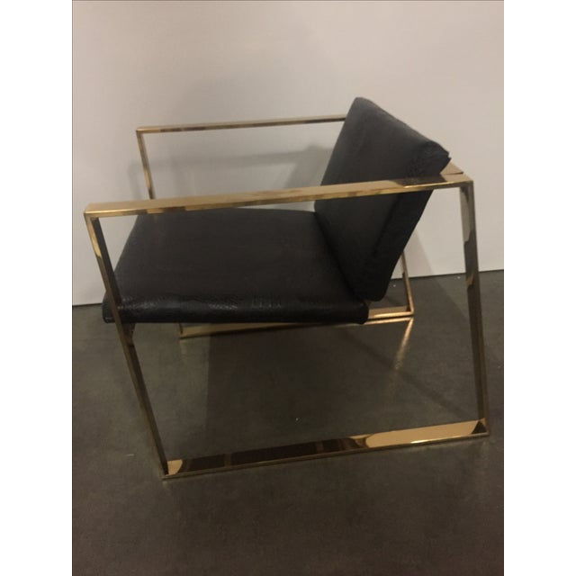 Modern Philippe Gold and Black Croc Lounge Club Accent Chair For Sale - Image 3 of 3
