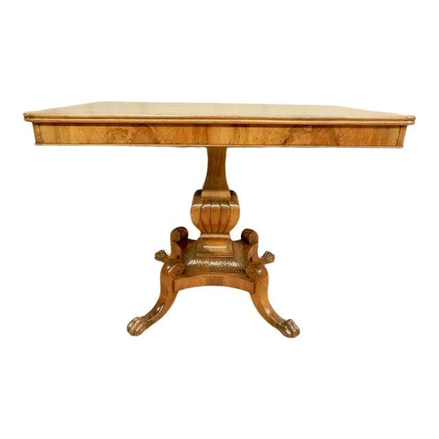 Italian Walnut Pedestal Table For Sale