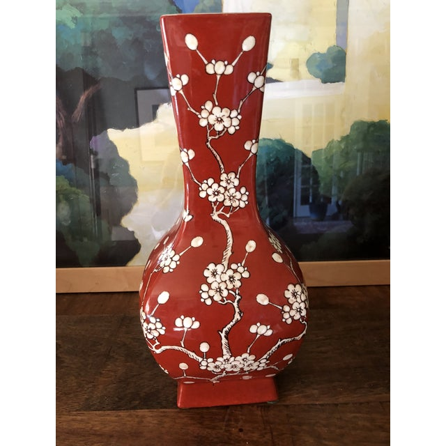 1960s Japanese Cherry-Blossom Maroon Porcelain Ware Vase For Sale In Atlanta - Image 6 of 6